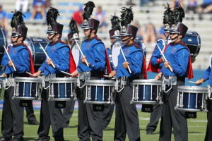 Several of the snare drummers with the University of Kansas Marching Jayhawks' drumline