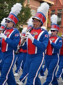 Chase Wallace marching in the KU marching band